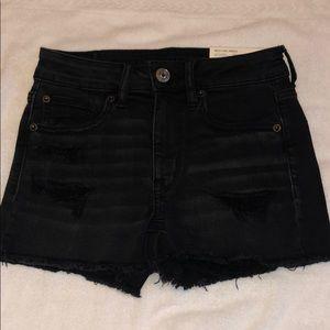 Brand new AE black denim shorts